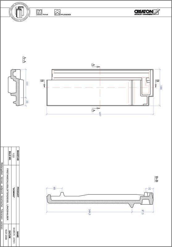 Prodotto file CAD DOMINO Esalatore raccordo colmo mezza tegola FALLH