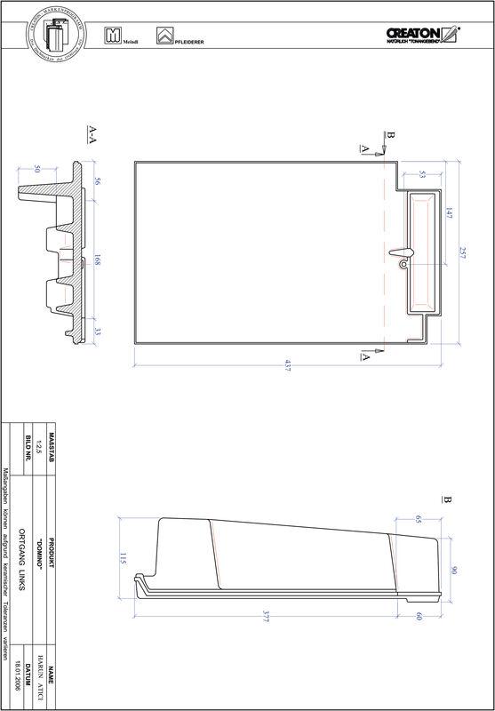 Prodotto file CAD DOMINO Gronda di frontespizio sinistra OGL