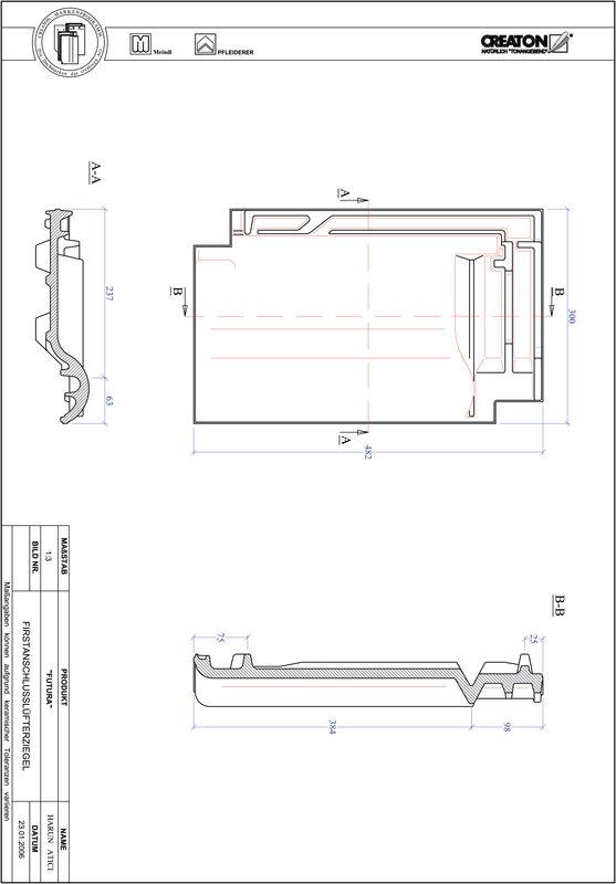 Prodotto file CAD FUTURA Tegola raccordo colmo-aeratore FALZ