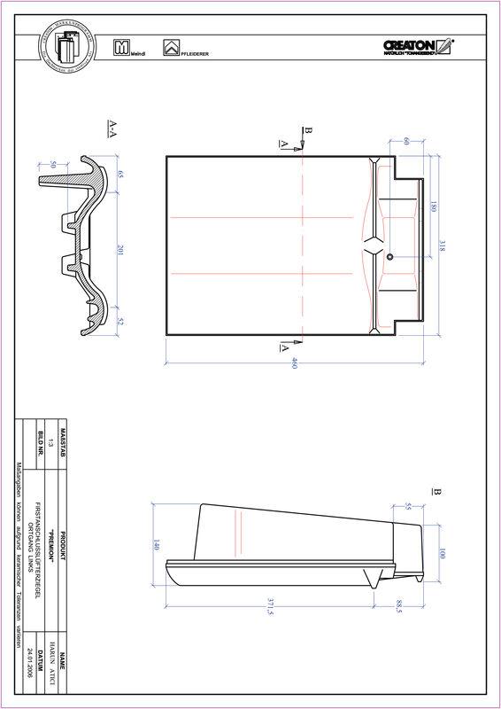 Prodotto file CAD PREMION Esalatore raccordo colmo gronda di frontespizio sinistra FALOGL