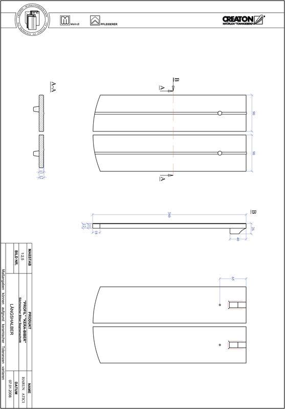 Prodotto file CAD PROFIL Taglio a segmento d'arco KERA-SAECHS-18-CM-LH