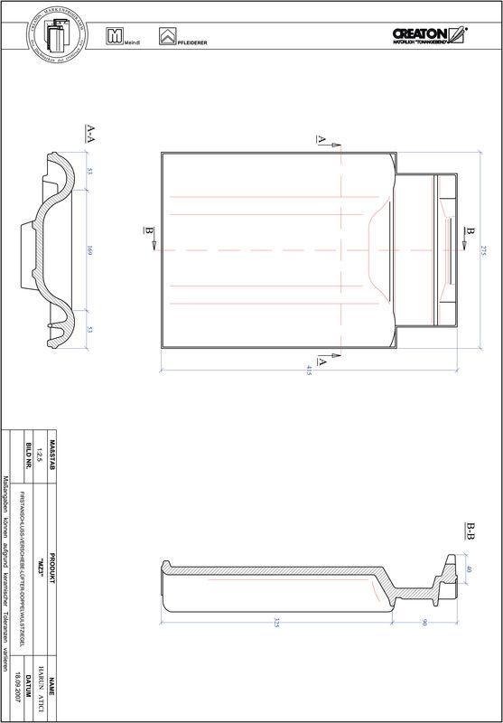Prodotto file CAD MZ3 Tratto di scorrimento tegola a doppia onda VSBDWZ