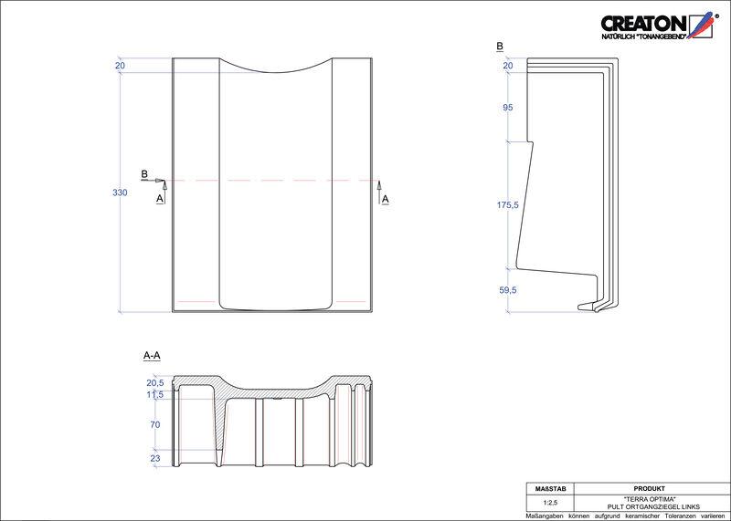 Prodotto file CAD TERRA OPTIMA Tegola di testata gronda di frontespizio sinistra PULTOGL