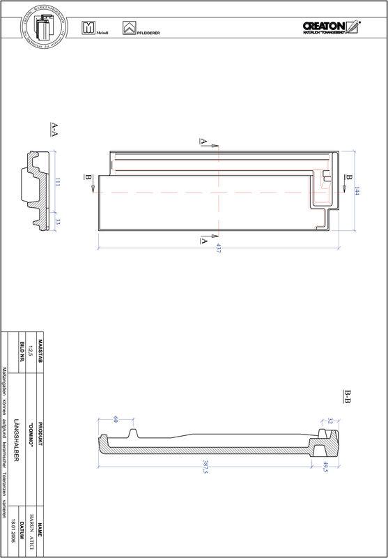 Prodotto file CAD DOMINO Mezza tegola LH
