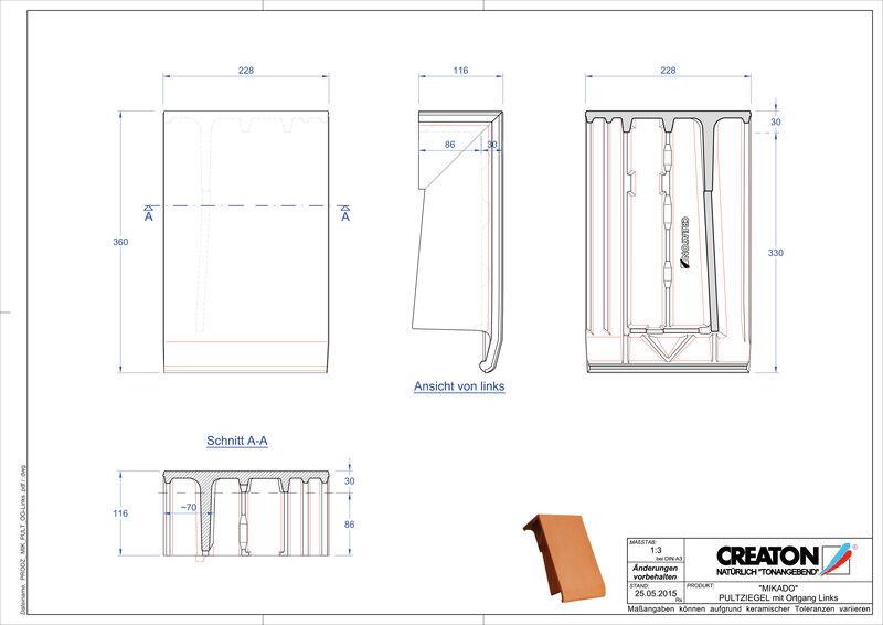 Prodotto file CAD MIKADO Tegola di testata gronda di frontespizio sinistra PULTOGL