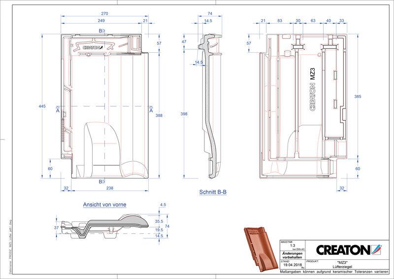 Prodotto file CAD MZ3 NEU Tegola aeratore LUEFTZ