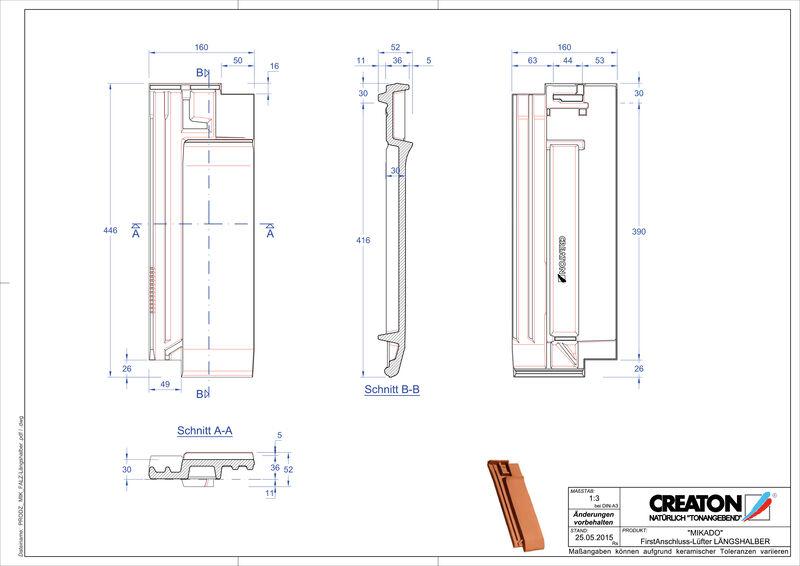 Prodotto file CAD MIKADO Esalatore raccordo colmo mezza tegola FALLH