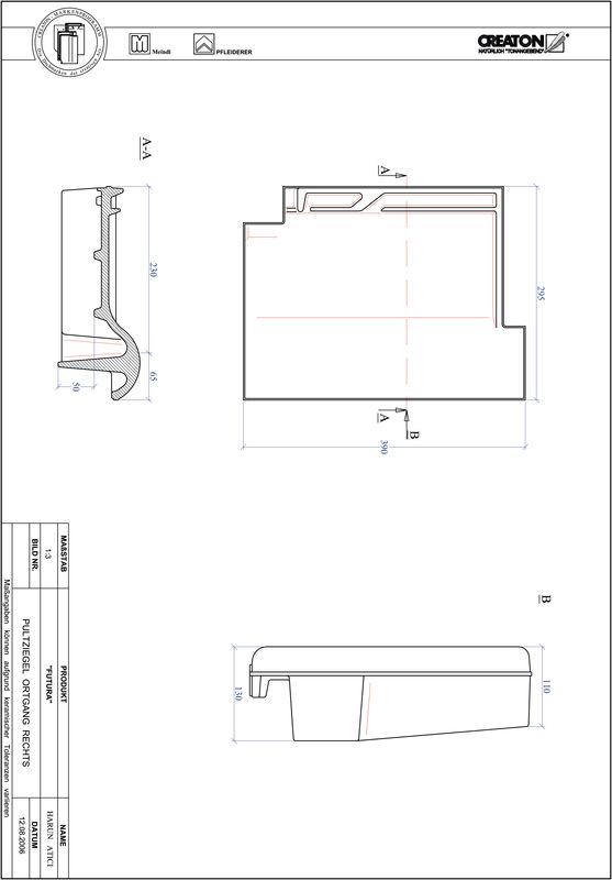 Prodotto file CAD FUTURA Tegola di testata gronda di frontespizio destra PULTOGR