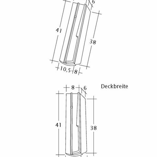 Prodotto disegno tecnico PROFIL Kera-Saechs-18cm-SchiebeOG