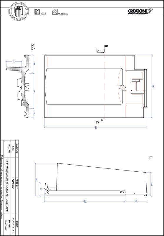 Prodotto file CAD TERRA OPTIMA Esalatore raccordo colmo gronda di frontespizio sinistra FALOGL