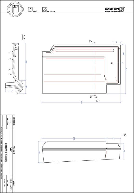 Prodotto file CAD MZ3 Gronda di frontespizio destra OGR
