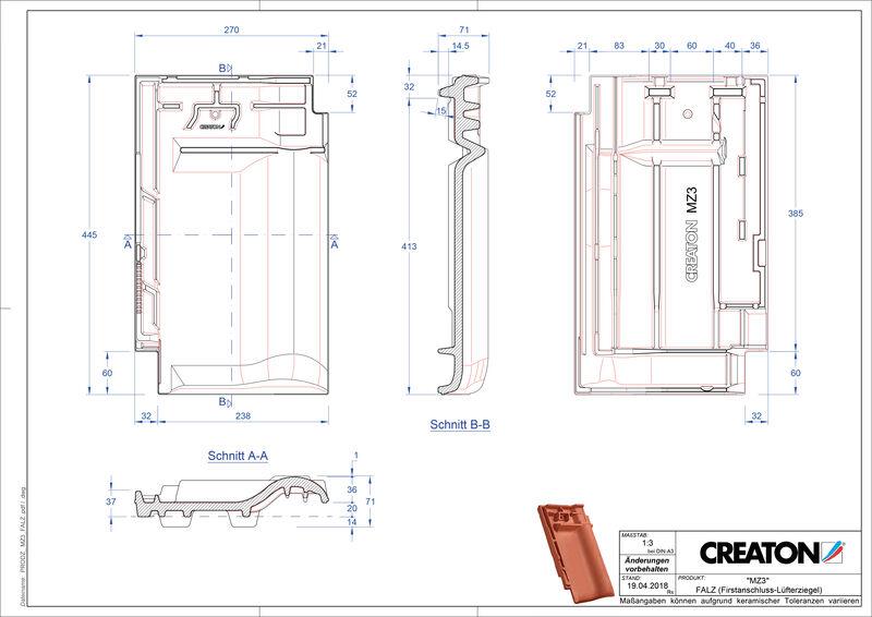 Prodotto file CAD MZ3 NEU Tegola raccordo colmo esalatore FALZ