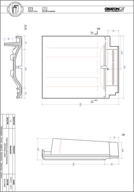 Prodotto file CAD MAGNUM Esalatore raccordo colmo gronda di frontespizio sinistra FALOGL