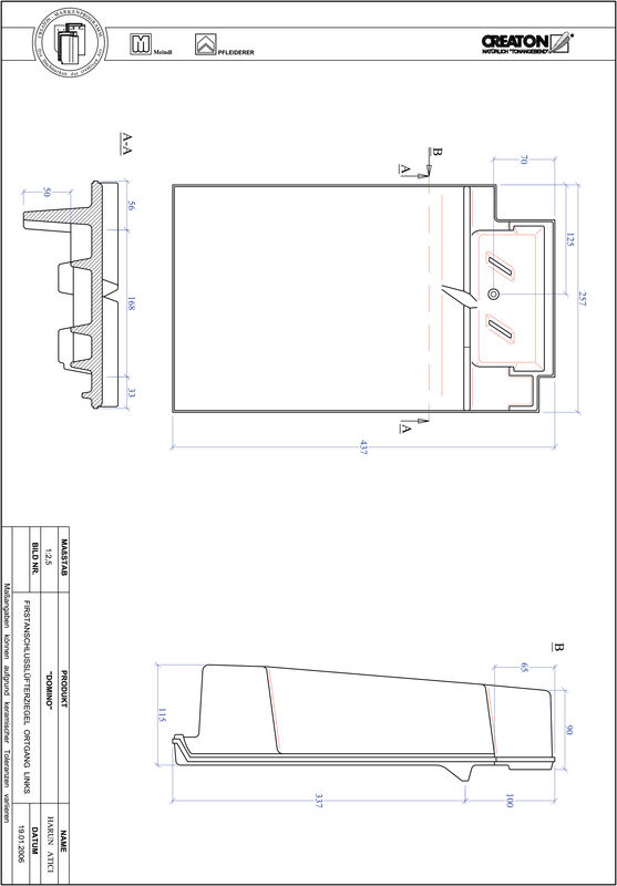 Prodotto file CAD DOMINO Esalatore raccordo colmo gronda di frontespizio sinistra FALOGL