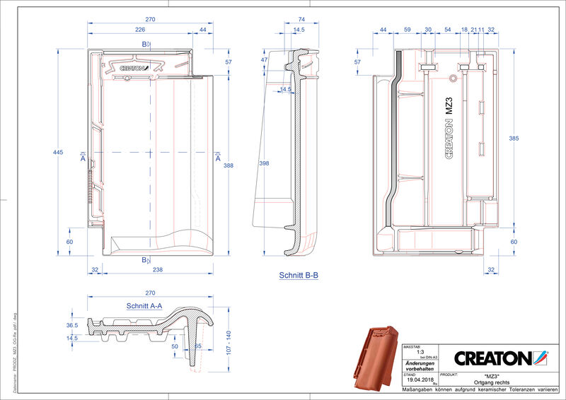 Prodotto file CAD MZ3 NEU Gronda di frontespizio destra OGR