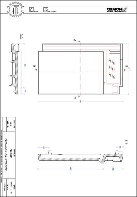 Prodotto file CAD DOMINO Tegola raccordo colmo-aeratore FALZ