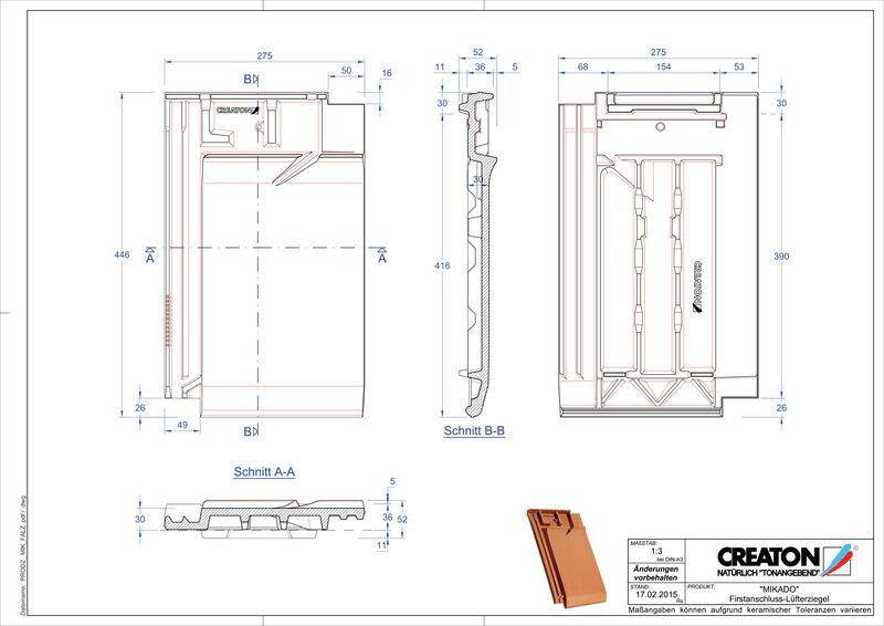 Prodotto file CAD MIKADO Tegola raccordo colmo-aeratore FALZ