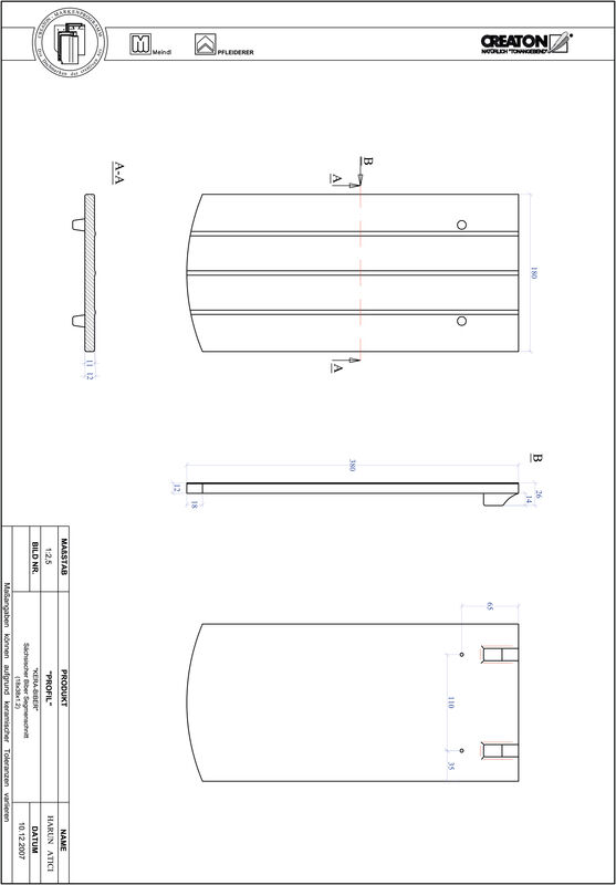 Prodotto file CAD PROFIL Taglio a segmento d'arco KERA-SAECHS-18-CM-1-1