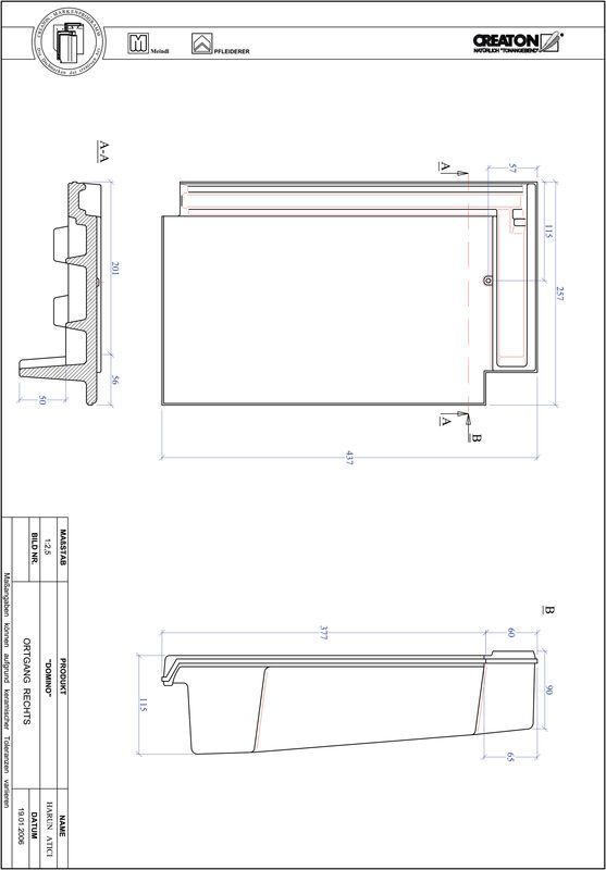 Prodotto file CAD DOMINO Gronda di frontespizio destra OGR