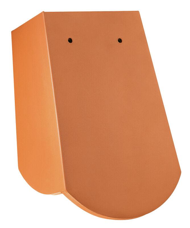 Tegola piana sassone 18 x 38 x 1,2 con 3 scanalature taglio a segmento d'arco gronda di frontespizio scorrevole con breve linguetta laterale ca. 5 cm a destra