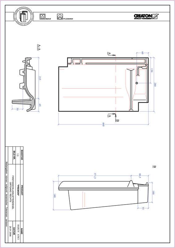 Prodotto file CAD PREMION Esalatore raccordo colmo gronda di frontespizio destra FALOGR
