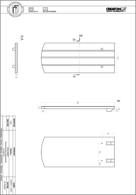 Prodotto file CAD PROFIL Taglio a segmento d'arco KERA-SAECHS-15-CM-1-1