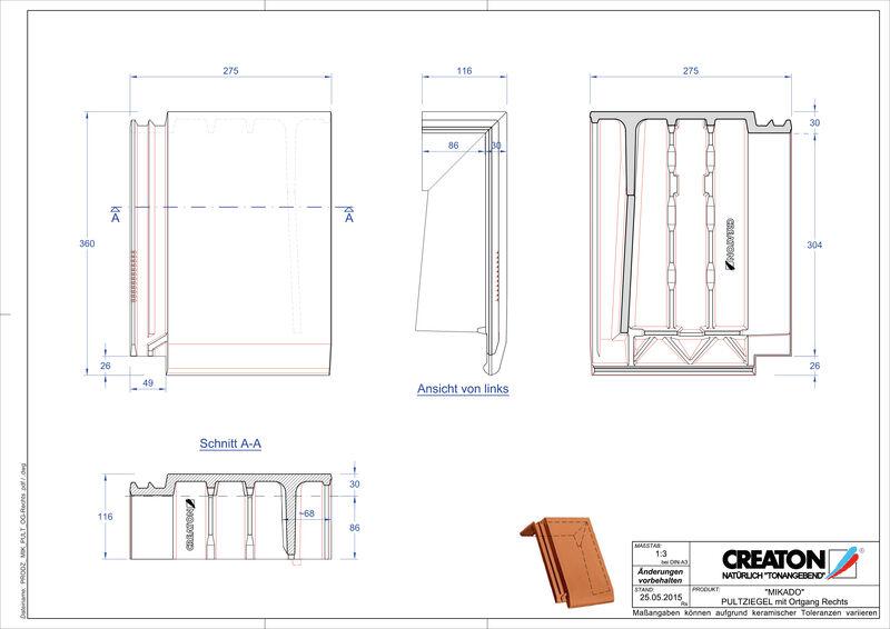 Prodotto file CAD MIKADO Tegola di testata gronda di frontespizio destra PULTOGR