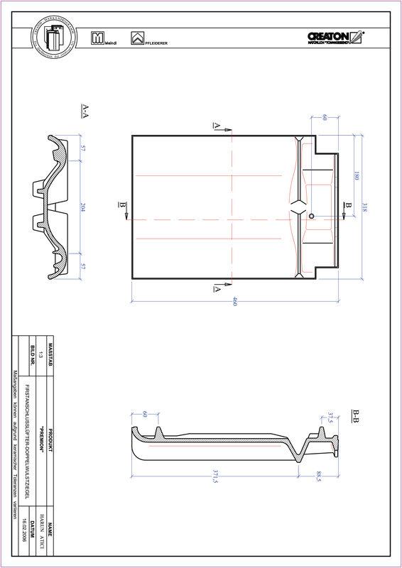 Prodotto file CAD PREMION Esalatore raccordo colmo tegola a doppia onda FALDWZ