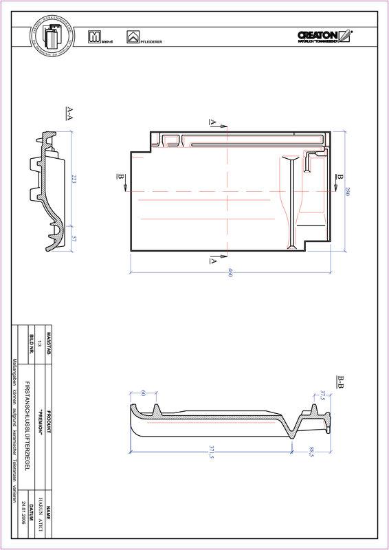 Prodotto file CAD PREMION Tegola raccordo colmo-aeratore FALZ