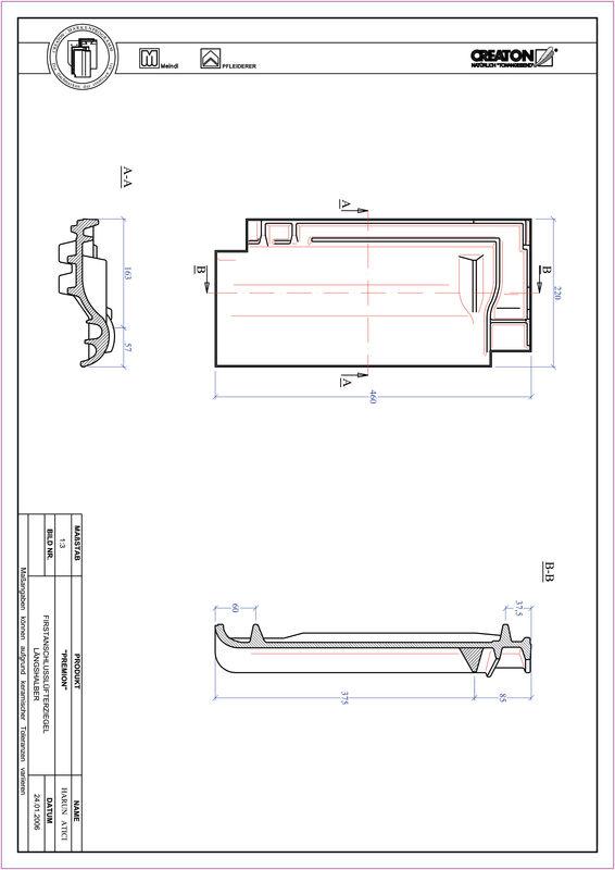 Prodotto file CAD PREMION Esalatore raccordo colmo mezza tegola FALLH