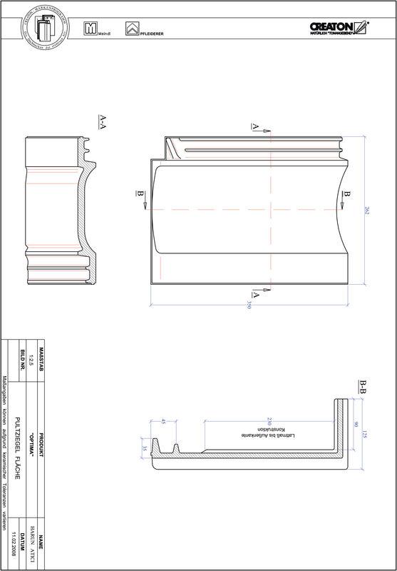 Prodotto file CAD TERRA OPTIMA Tegola di testata superficie PULTFLA