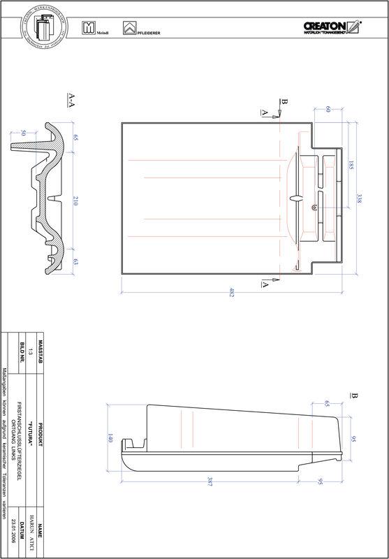 Prodotto file CAD FUTURA Esalatore raccordo colmo gronda di frontespizio sinistra FALOGL