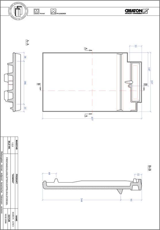 Prodotto file CAD DOMINO Esalatore raccordo colmo tegola a doppia onda FALDWZ