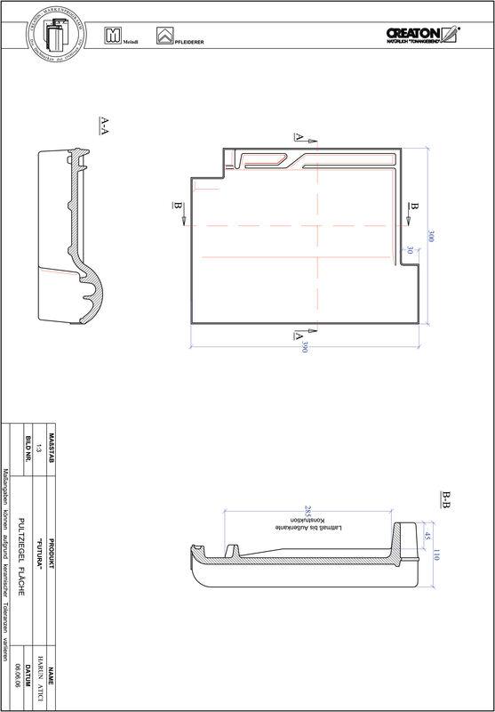 Prodotto file CAD FUTURA Tegola di testata superficie PULTFLA