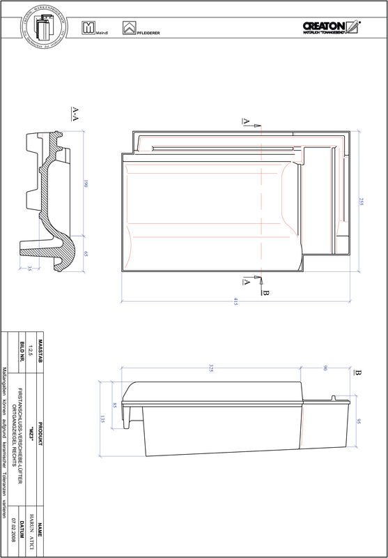 Prodotto file CAD MZ3 Tratto di scorrimento gronda di frontespizio destra VSBOGR