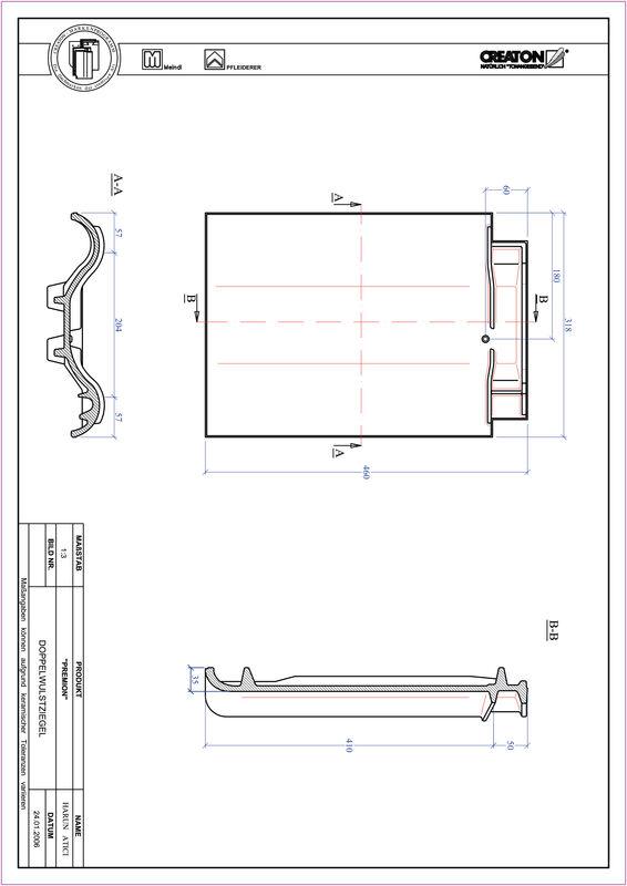 Prodotto file CAD PREMION Tegola a doppia onda DWZ