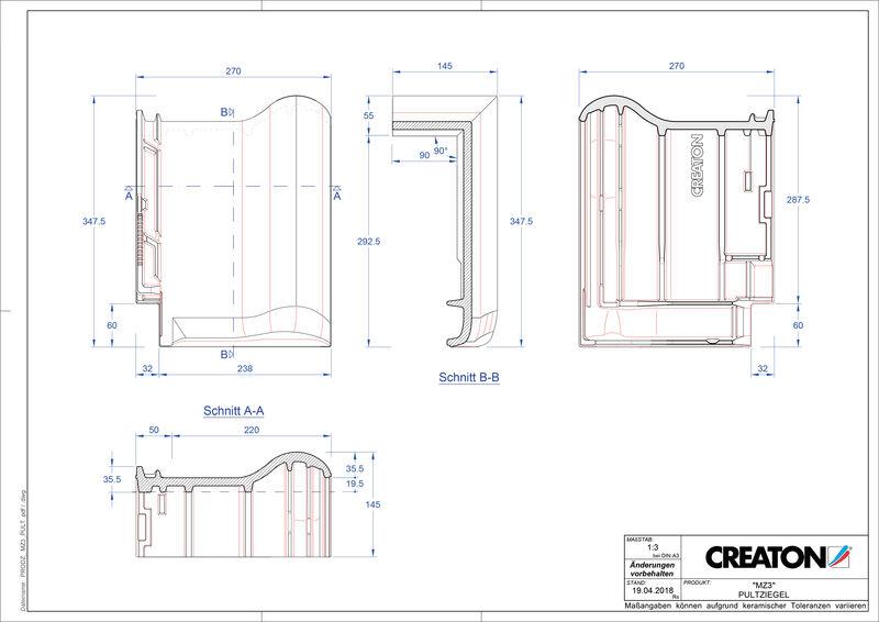 Prodotto file CAD MZ3 NEU Tegola di testata PULT