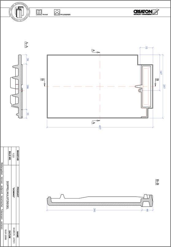 Prodotto file CAD DOMINO Tegola a doppia onda DWZ