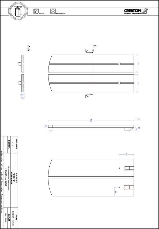 Prodotto file CAD PROFIL Taglio a segmento d'arco KERA-SAECHS-15-CM-LH