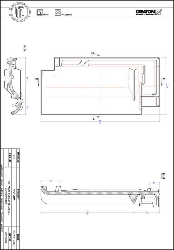 Prodotto file CAD FUTURA Esalatore raccordo colmo mezza tegola FALLH