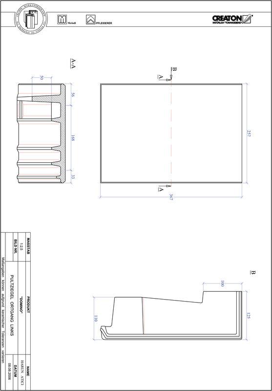 Prodotto file CAD DOMINO Tegola di testata gronda di frontespizio sinistra PULTOGL